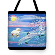 Dolphin Plays With Duckling Tote Bag