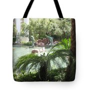 Dolphin Pond And Garden Green Tote Bag