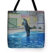 Dolphin Walking On Water Digital Art Tote Bag