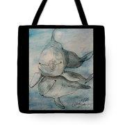 Dolphins Duo Underwater Art Cathy Peek Tote Bag