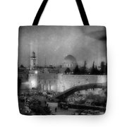 Dome Of The Rock -- Black And White Tote Bag