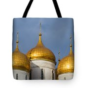 Domes Of The Dormition Cathedral Of Moscow Kremlin - Square Tote Bag