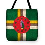 Dominica Flag Vintage Distressed Finish Tote Bag