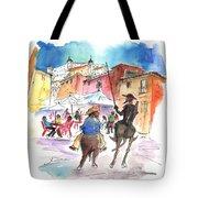 Don Quijote And Sancho Panza Entering Toledo Tote Bag