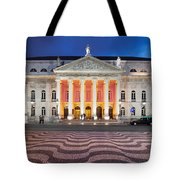 Dona Maria II National Theater At Night In Lisbon Tote Bag