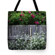 Don't Fence Me In - Wild Roses - Old Fence Tote Bag