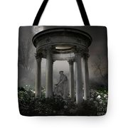 Don't Wake Up My Sleepy White Roses - Moonlight Version Tote Bag by Bedros Awak