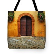 Door And Flowers In A Tuscan Courtyard Tote Bag