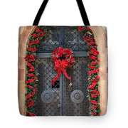 Door With Christmas Decoration  Tote Bag