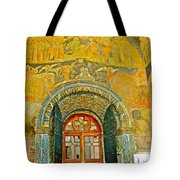 Doorway Entry To Cathedral Of The Archangel Inside Kremlin Walls In Moscow-russia Tote Bag