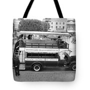 Double Decker Bus Main Street Disneyland Bw Tote Bag