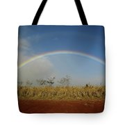 Double Rainbow Over A Field In Maui Tote Bag