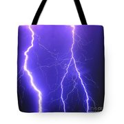 Double Triple Blue Lightning Tote Bag