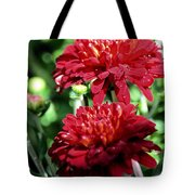 Doubled Red Mums Tote Bag