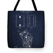 Dougherty Playing Cards Patent Drawing From 1876 - Navy Blue Tote Bag