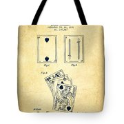 Dougherty Playing Cards Patent Drawing From 1876 - Vintage Tote Bag by Aged Pixel