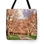 Down The Cherry Lined Lane Tote Bag