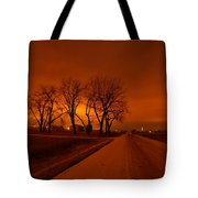 Down The Haunting Road Under The Orange Sky Tote Bag