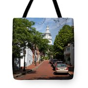 Downtown Annapolis With Maryland State House Cupola Tote Bag
