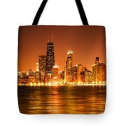 Downtown Chicago At Night With Chicago Skyline Tote Bag by Paul Velgos