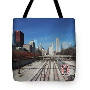 Downtown Chicago With Train Tracks Tote Bag