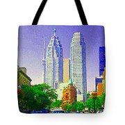 Downtown Core Flatiron Building And Cn Tower Toronto City Scenes Paintings Canadian Art Cspandau Tote Bag