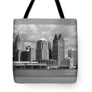 Downtown Detroit Riverfront Bw Tote Bag