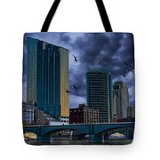 Downtown Grand Rapids Michigan By The Grand River With Gulls Tote Bag