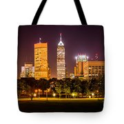 Downtown Indianapolis Skyline At Night Picture Tote Bag