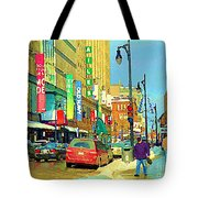 Downtown Montreal Eatons Centre Complex Les Ailes Old Navy Rue Mcgill College City Scenes  C Spandau Tote Bag