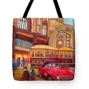 Downtown Montreal-streetcars-couple Near Red Fifties Mustang-montreal Vintage Street Scene Tote Bag