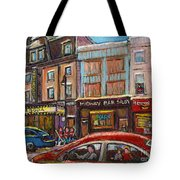 Downtown Montreal Streetscene Tote Bag