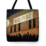 Downtown Seattle With Silhouetted Runners On Brick Wall Early Mo Tote Bag