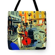 Downtown Street Musicians Perform At The Coffee Shop With Cool Tones On A Hot Summer Day Tote Bag