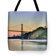 Downtown Vancouver And Lions Gate Bridge At Twilight Tote Bag by Eti Reid