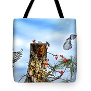 Downy And Titmouse Playing On Lichen Stump Tote Bag