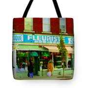 Dozen Red Roses Boutique Fleuriste Coin Vert Notre Dame Street Scene Montreal Art Carole Spandau Tote Bag