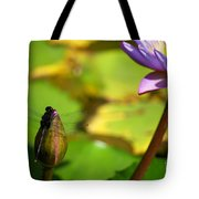 Dragon Fly On Bud And Water Lily Horizontal Number One Tote Bag