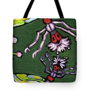 Dragonflies And Water Lilies Tote Bag