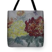 Dragonfly Among Chrysanthemums Tote Bag