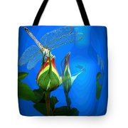 Dragonfly And Bud On Blue Tote Bag