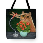 Dragonfly And Cat Tote Bag