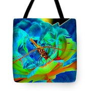 Dragonfly On A Cosmic Rose Tote Bag