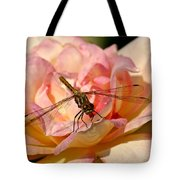 Dragonfly On A Rose Tote Bag