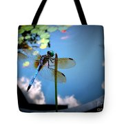 Dragonfly Reflecting On A Beautiful Day Tote Bag