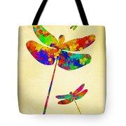 Dragonfly Watercolor Art Tote Bag