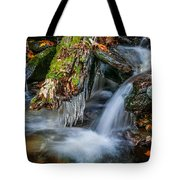 Dragons Teeth Icicles Waterfall Great Smoky Mountains  Tote Bag