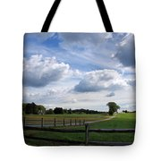 Dramatic Blustery Sky Over The Hayfield Tote Bag