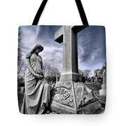Dramatic Gravestone With Cross And Guardian Angel Tote Bag
