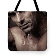 Dramatic Portrait Of Young Man Under A Shower Tote Bag
